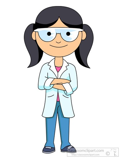 female science student wearing a lab coat and goggles clipart