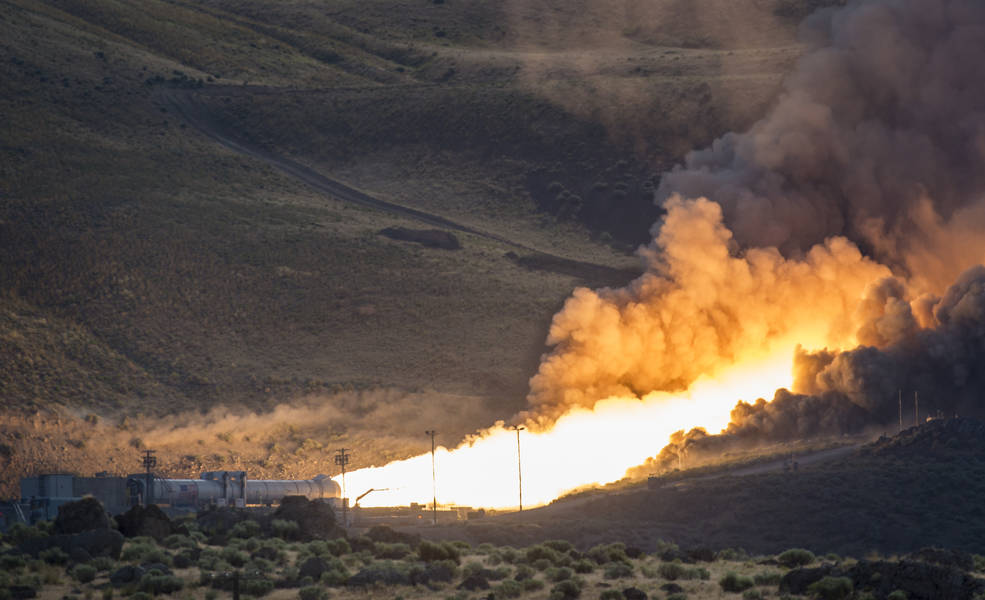 The second and final qualification motor (QM-2) test for the Space Launch System's booster is seen, Tuesday, June 28, 2016, at Orbital ATK Propulsion Systems test facilities in Promontory, Utah. During the Space Launch System flight the boosters will provide more than 75 percent of the thrust needed to escape the gravitational pull of the Earth, the first step on NASA's Journey to Mars. Photo Credit: (NASA/Bill Ingalls)